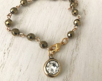 Just Breathe Gold Linked Rosary Bracelet with Smoky Gray Crystals