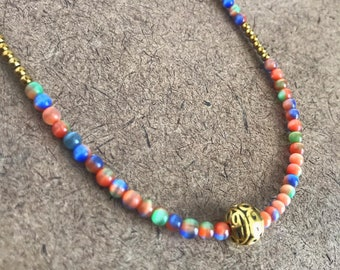 Hand Fired Bead Necklace One of a Kind and Hand Fired Locally Beaded Wire Choker Necklace Art Glass Necklace