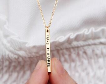 Bar necklace | Brass tag jewels