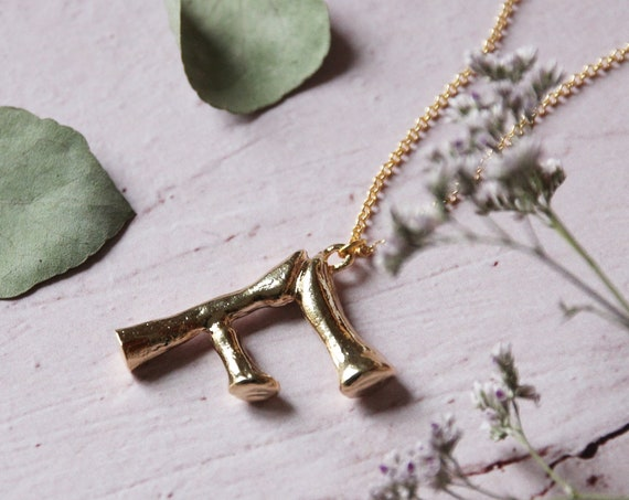 Just you | Initial necklace, gold plated brass jewelry