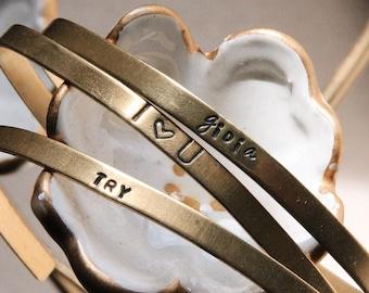 Mantra cuff bracelet Inspirational brass bangle handstamped jewelry 4mm