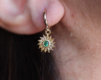 Green stone and plated brass earrings