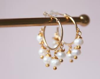 Mini hoops pearls
