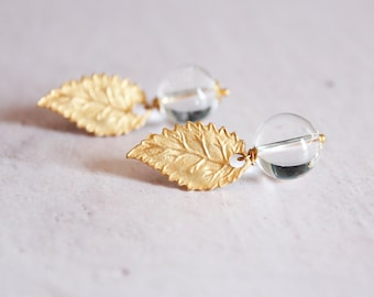 Quartz earrings, tiny clear quartz dangle earrings, gemstone wedding jewelry