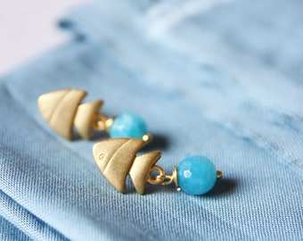 Angelite earrings, semiprecious stone jewels