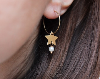 Hoop Stars earrings, initial personalized jewelry