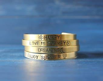 Mantra cuff bracelet Inspirational brass bangle