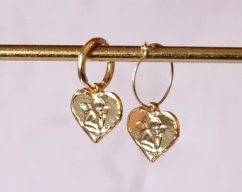 Charm mini hoops | Heart with angel