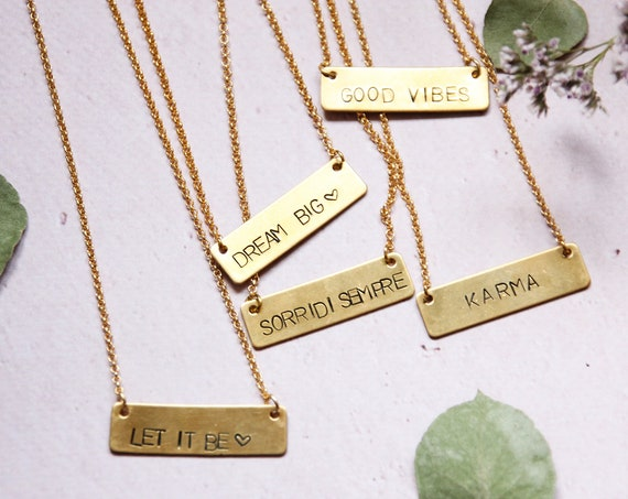 Engraveable gold bar Chunky bar necklace Personalized handstamped tag jewelry