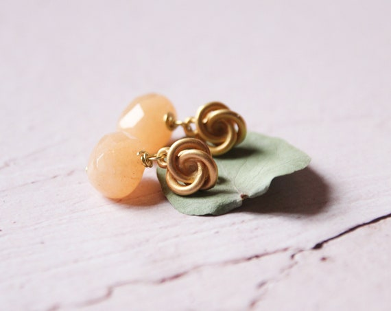 Peach stones earrings