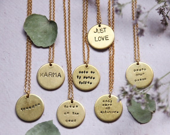 Tag necklace engraved jewelry