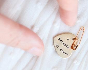 Heart brooch, brass safety pin engraved heart