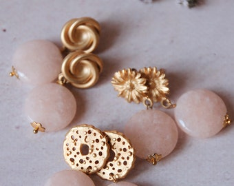 Pink Quartz earrings, semiprecious stones jewelry