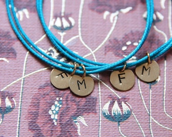 Personalized Initial bracelet   Handstamped jewels   Made in Italy
