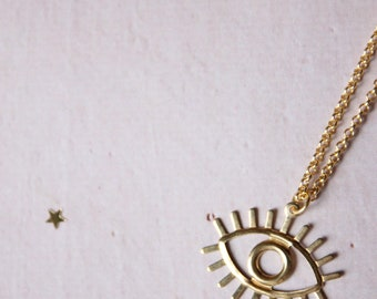 Eye brass necklace
