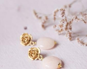Pink Quartz earrings, semiprecious stones jewelry