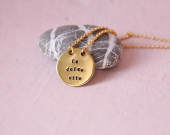 La dolce vita | Tag necklace engraved jewelry