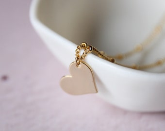 Heart necklace | Gold plated brass