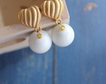 Agate earrings white stone jewels