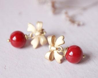 Little red earrings