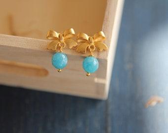 Angelite earrings, semiprecious stone jewels