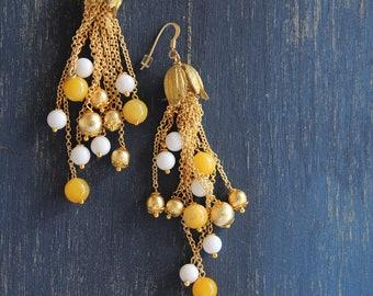 Pendant earrings, agate gemstone earrings, wedding jewels