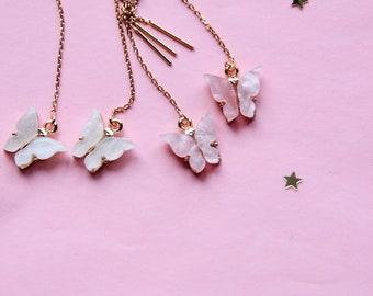 Butterflies and pearls earrings