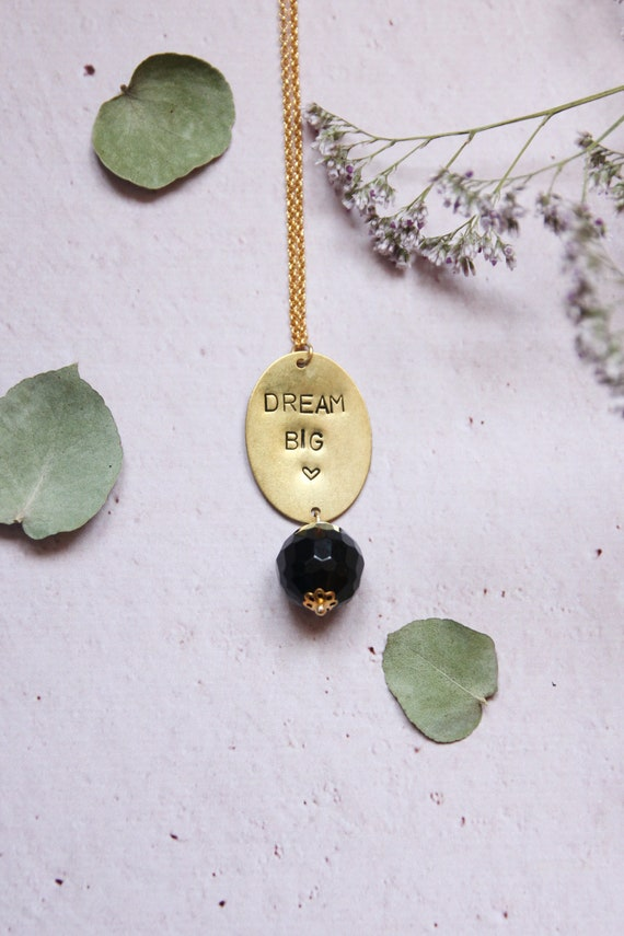 Tag necklace and stones