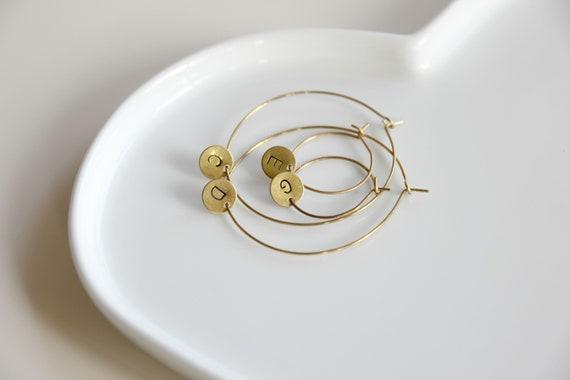 Hoop earrings, initial personalized jewelry