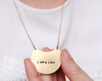 Bar tag necklace, Engraved jewelry