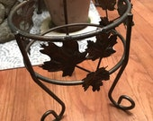 Vintage Medium Bronze Metal Plant Stand Grape Leaves Napa Valley Wine Country