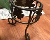 Vintage Small Bronze Metal Plant Stand Grape Leaves Napa Valley Wine Country