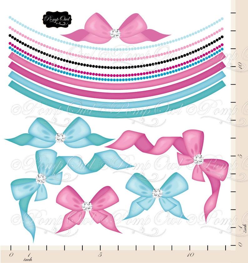 Bows Ribbons cliparts Digital Clip Art Embellishments Diamond rhinestone Pink Blue Elements images graphics Polka dots Paper pack po00020