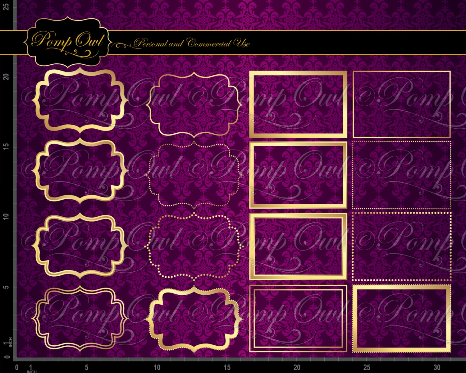 Instant Download Gold Frames Digital Clipart Fancy Beautiful Etsy