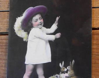 1900's Germany Real Photo Easter Postcard - 2 Rabbit Candy Containers - Edwardian, Germany