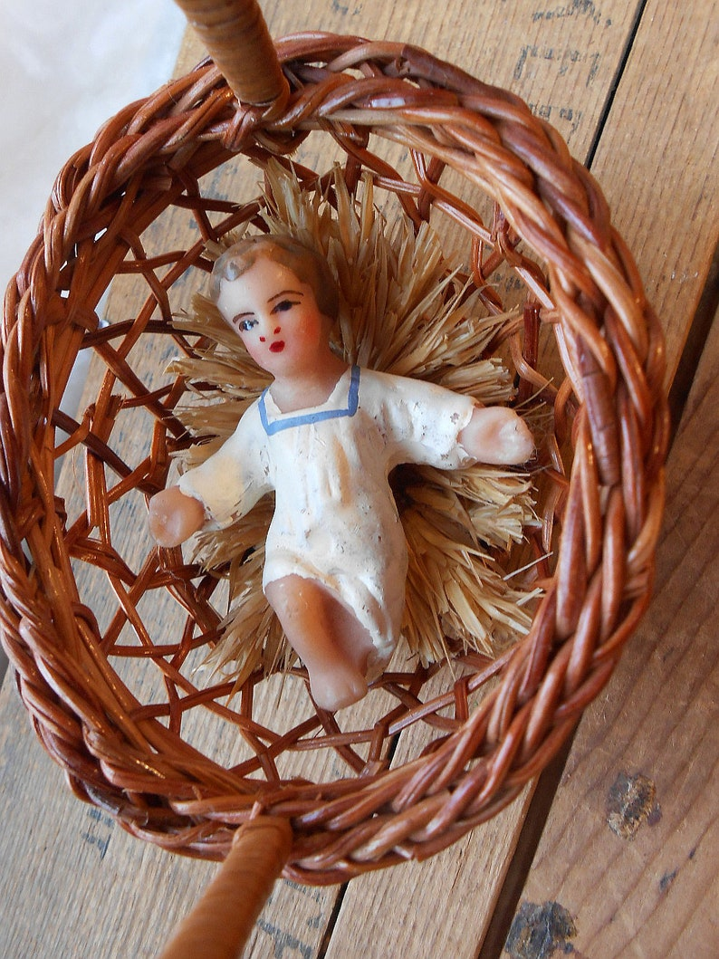 France Vintage Wax Baby Jesus In Basket for Christmas Tree