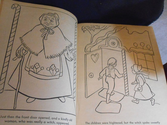 1950- 1960\'s Hansel & Gretel Giant Coloring Book - Near Mint