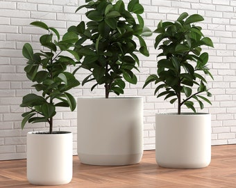 Set of 3 Ceramic Planters - 12, 9 and 6 inch - Matte Finish, Kiln Fired and Hand Glazed - Sturdy and Large Plant Pots for Indoor and Outdoor