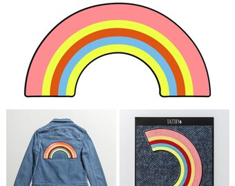 Rainbow Colorful Large Embroidered Iron On Sticker Patch Good Gals Collection
