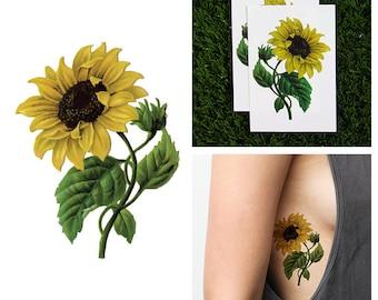 Yellow flower tattoo etsy tattify sunflower temporary tattoo sunny disposition set of 2 mightylinksfo