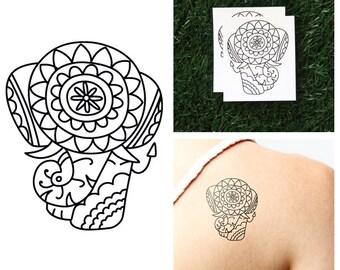 Elephant Fake Tattoo Etsy