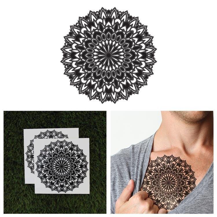 Tattify grand mandala tatouage temporaire pollinisent etsy - Grand mandala ...