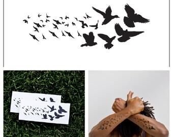 Black Birds - temporary tattoo (Set of 2)