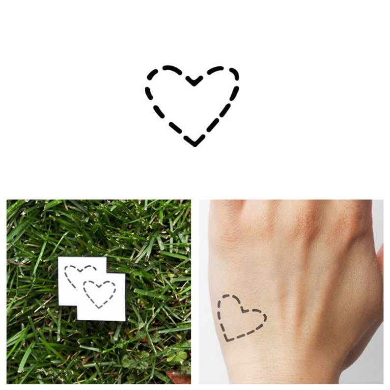 Dashed Heart  Temporary Tattoo Set of 4 image 0