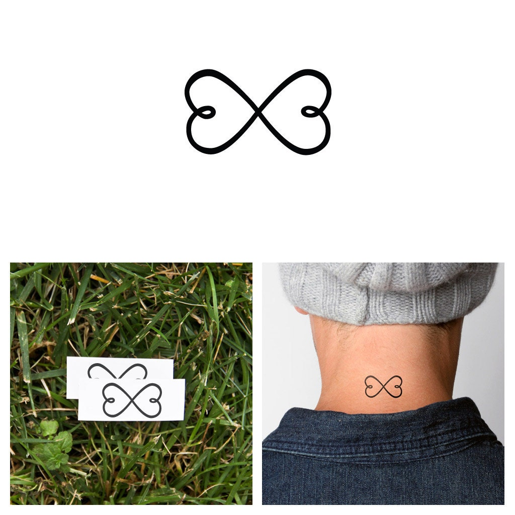 Infinity Heart Temporary Tattoo Set Of 2 Etsy