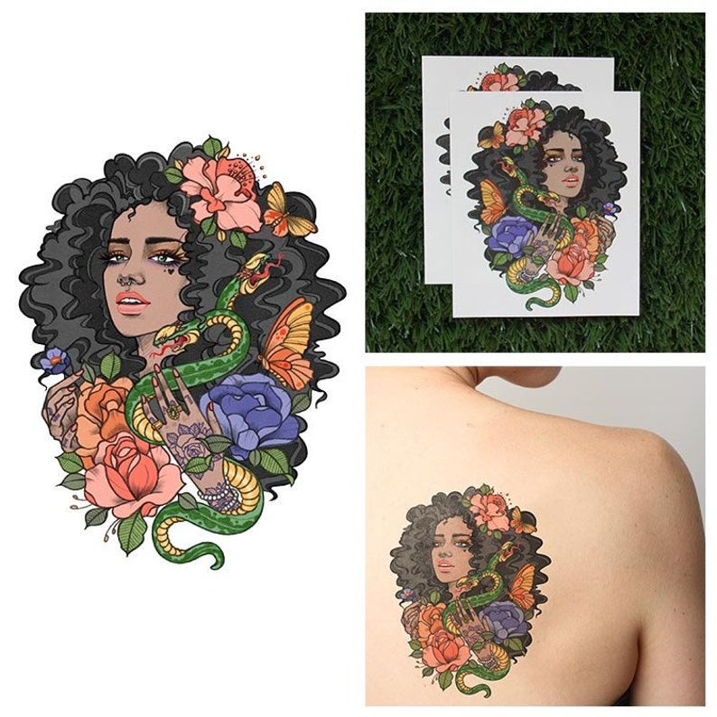 Tattify Girl With Snake Temporary Tattoo  Eve Set of 2 image 0