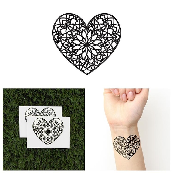 Tattify Corazón Mandala Tatuaje Temporal Amor Juego De 2 Etsy