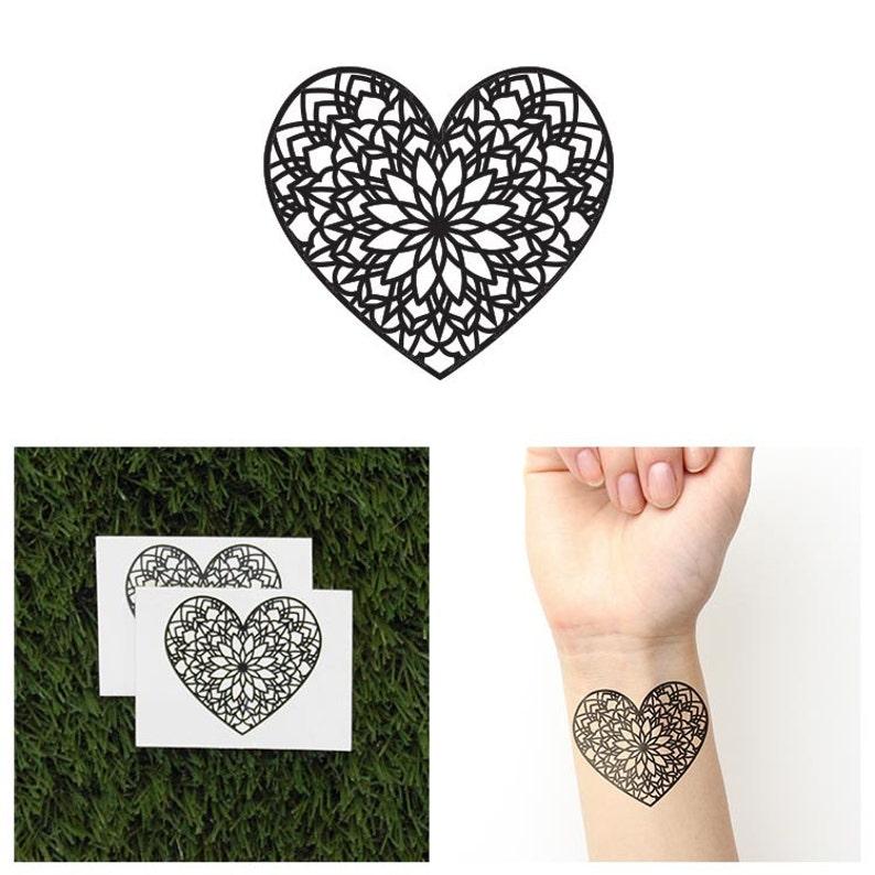 Tattify Heart Mandala Temporary Tattoo  Love Set of 2 image 0