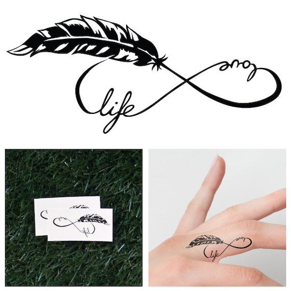 infini plume symbole tatouage temporaire ensemble de 2 etsy. Black Bedroom Furniture Sets. Home Design Ideas