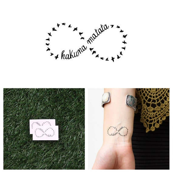 Infinity Hakuna Matata Temporary Tattoo Set Of 2